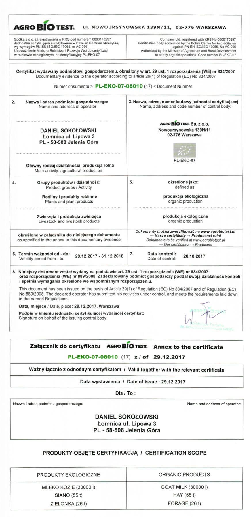 Certyfikat rolnictwa ekologicznego | Gospodarstwo 'Kozia Łąka'