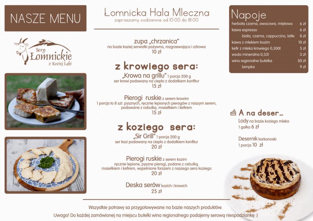Menu | Łomnicka Hala Mleczna