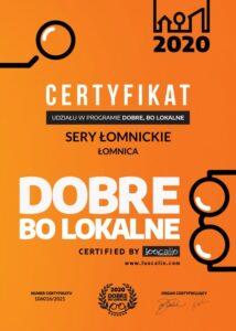 Dobre bo Lokalne | Certyfikat 2020